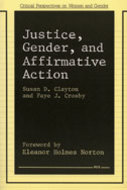 Book cover for 'Justice, Gender, and Affirmative Action'