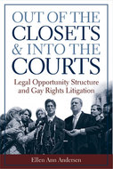 Book cover for 'Out of the Closets and into the Courts'