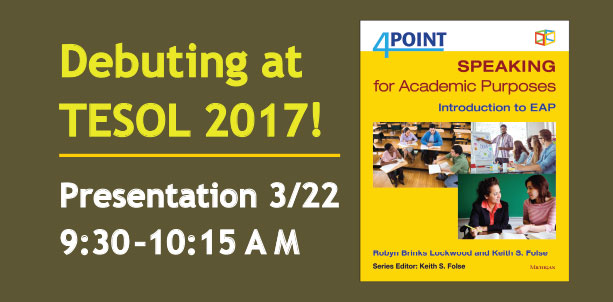 Debuting at TESOL 2017! Presentation 3/22, 9:30-10:15 AM