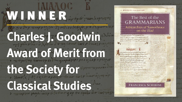 Slide for the book Best of the Grammarians. Text of slide reads: Winner: Charles J. Goodwin Award of Merit from the Society for Classical Studies